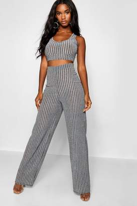boohoo Sheer Metallic Rib Bralet + Wide Leg Trouser Co-Ord