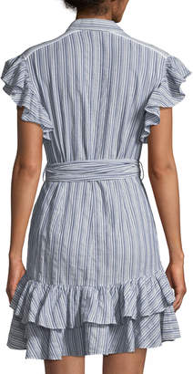 Rebecca Taylor Flutter-Sleeve Striped Shirtdress