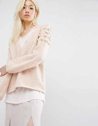 Oneon Hand Knitted Sweater in Plunge Neck with Pom Pom Shoulder