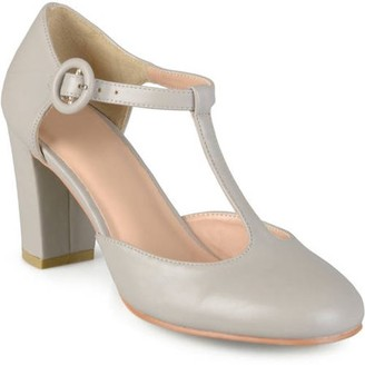 Brinley Co. Women's T-strap Chunky Heel Round Toe Classic Matte Pumps