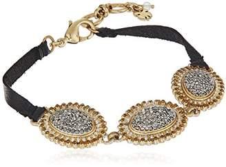Lucky Brand pave link & leather bracelet