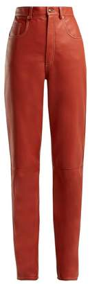 Gucci High Rise Leather Trousers - Womens - Red