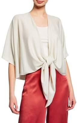 Eileen Fisher Shimmer Tie-Front Short-Sleeve Cardigan