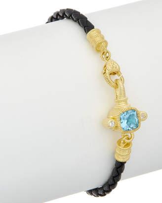 Judith Ripka 14K Over Silver & Leather 2.12 Ct. Tw. Gemstone Bracelet