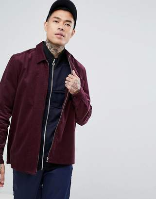 Asos Cord Zip Thru Overshirt In Burgundy