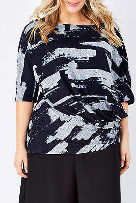 NEW bird by design Womens Blouses The Side Drape Blouse Abstract