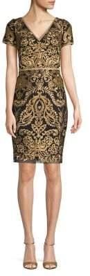 Marchesa Metallic Embroidered Sheath Dress
