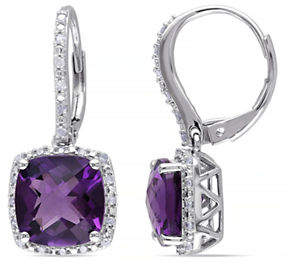 HBC CONCERTO Amethyst Diamond-Accented Sterling Silver Drop Earrings