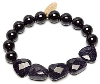 Lola Rose Benita Black Agate and Blue Sandstone Bracelet of Length 15-21cm