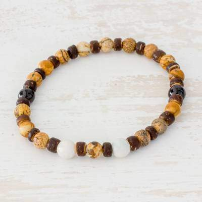 Brown Combination Jasper Jade and Coconut Shell Beaded Bracelet from Guatemala