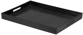"""Home Basics Black Faux Leather Serving Tray With Handles 18"""" x 13"""""""
