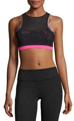 The Base Layered Cutout Stretch-jersey Sports Bra - Charcoal We/Me Good Selling Cheap Price Sale Visa Payment Inexpensive Cheap Online DVMYuli