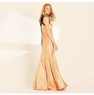 Amanda Wakeley Copper Crepe Back Satin Lace Long Dress