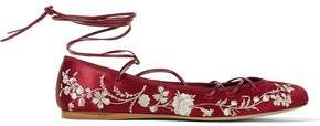 Etro Lace-Up Embroidered Satin Ballet Flats