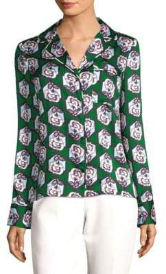 Milly Floral-Print Blouse