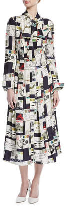 Oscar de la Renta Tie-Neck Long-Sleeve Postcard-Print Midi Silk Shirtdress