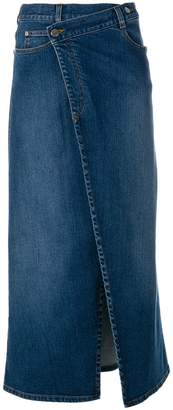 Stella McCartney denim wrap midi skirt