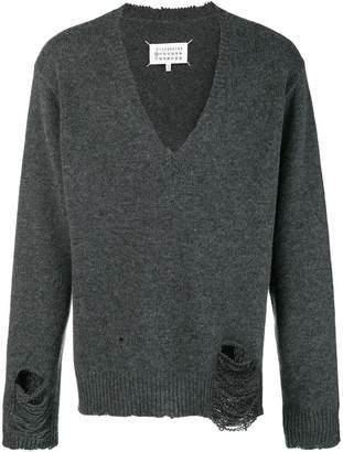 Maison Margiela distressed V-neck sweater