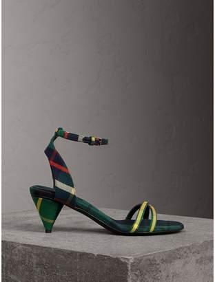 Burberry Tartan Cotton Cone-heel Sandals