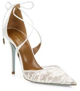 Aquazzura Matilde Lace & Leather Bridal Pumps $765 thestylecure.com