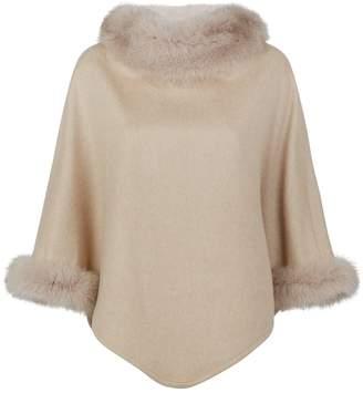 Max Mara Fox Fur-Trim Cashmere Poncho