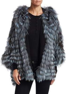 The Fur Salon Fox Fur Hooded Batwing Jacket