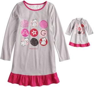 Girls 4-16 American Girl Ruffled Dorm Nightgown & Doll Nightgown Set