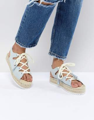 Pull&Bear lace up espadrille in blue