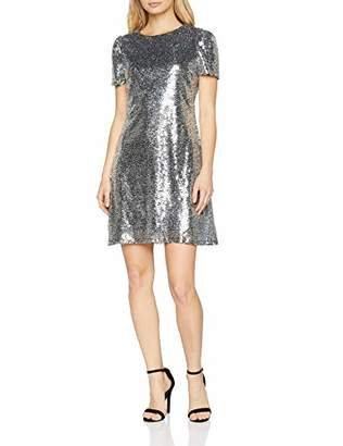 Yumi Women's Capped Sleeve Sequin Dress Party,Size: