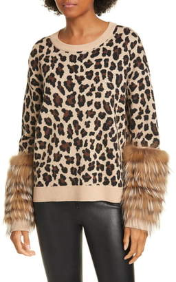 Alice + Olivia Sheila Genuine Fox Fur Cuff Sweater