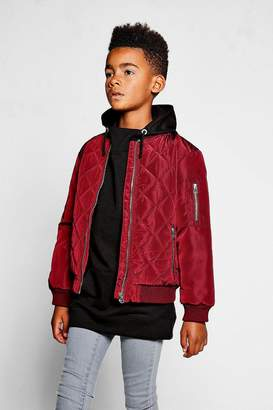 boohoo Boys Diamond Quilt Bomber Jacket