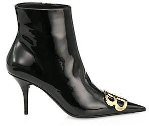Balenciaga Women's BB Patent Leather Ankle Boots