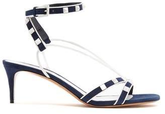Valentino Free Rockstud Suede Sandals - Womens - Navy White
