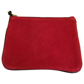 Balmain For H&M For H&m Red Suede Clutch Bag