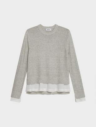 DKNY Crew Neck Pullover With Woven Hem
