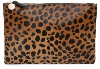 Clare V. Leopard Print Genuine Calf Hair Clutch