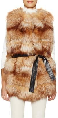 Tasha Tarno Women's Belted Fox Fur Vest