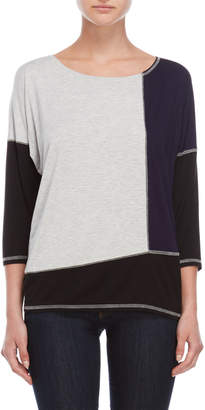 August Silk Color Block Quarter Sleeve Tee