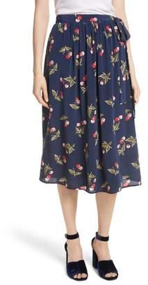 Joie Almudena Cherry Print Silk Wrap Skirt