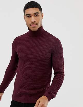 Asos DESIGN muscle fit cable roll neck sweater in burgundy