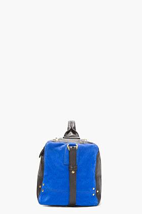 Jerome Dreyfuss Black Leather & Blue Suede Raoul Caviar Duffle Bag