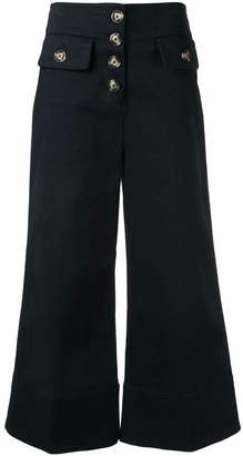 Self-Portrait cropped wide-leg trousers