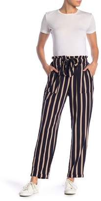 Know One Cares High Waist Stripe Print Paperbag Pants