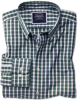 Charles Tyrwhitt Classic Fit Non-Iron Green and Navy Plaid Cotton Casual Shirt Single Cuff Size Large