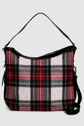 Next Womens Red Tartan Hobo Bag