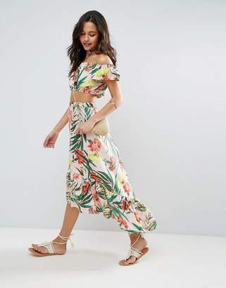 ASOS Palm Print Skirt with Ruffle $53 thestylecure.com