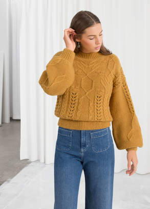 And other stories Floral Cable Knit Sweater