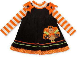 Rare Editions Baby Girls' 2-Pc. Striped Bodysuit & Turkey Jumper Set $50 thestylecure.com
