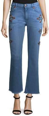 Etro High-Rise Flare-Leg Jeans w/ Studs