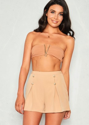 97a2c1af72 Missy Empire Missyempire Ronnie Camel Gold Stud High Waist Shorts